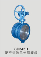 SD343H hard sealing flange telescopic butterfly valve